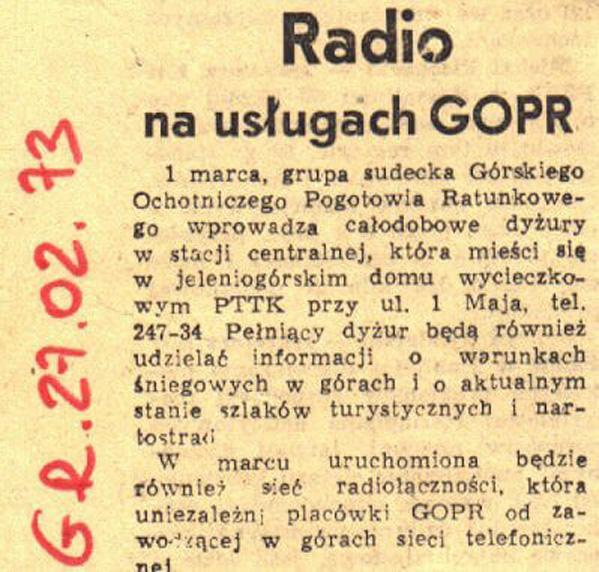 ROK 1973 - PRASA PISZE O RADIOTELEFONACH