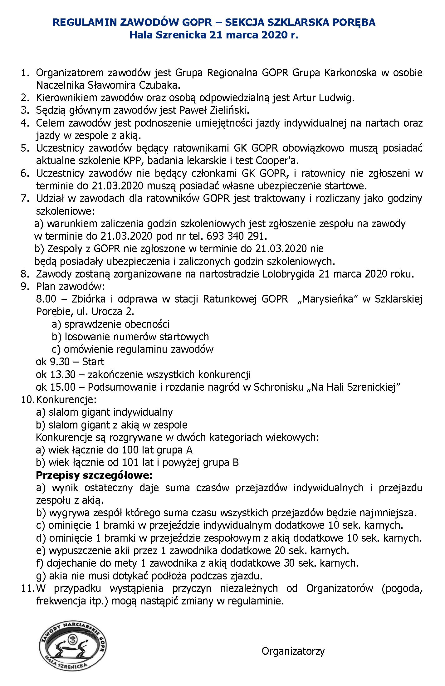 ZAWODY NARCIARSKIE GOPR im. ANTONIEGO RYCHLA - 2020